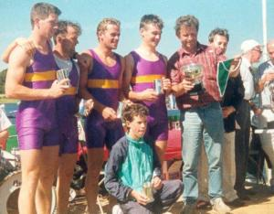 1990- Mens Intermediate 4+ Winners - Manus Crowley, PAul Greaney, Stephen Curran, Paul O'Connell (Cox), Owen Diviney, Paddy Lally (Coach)